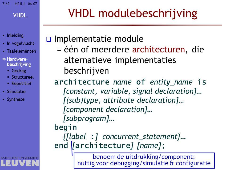 VHDL KATHOLIEKE UNIVERSITEIT 7-6206–07H01L1 VHDL modulebeschrijving  Implementatie module =één of meerdere architecturen, die alternatieve implementaties beschrijven architecture name of entity_name is [constant, variable, signal declaration]… [(sub)type, attribute declaration]… [component declaration]… [subprogram]… begin {[label : ] concurrent_statement}… end [ architecture ] [name] ; benoem de uitdrukking/component; nuttig voor debugging/simulatie & configuratie Inleiding In vogelvlucht Taalelementen  Hardware- beschrijving  Gedrag  Structureel  Repetitief Simulatie Synthese