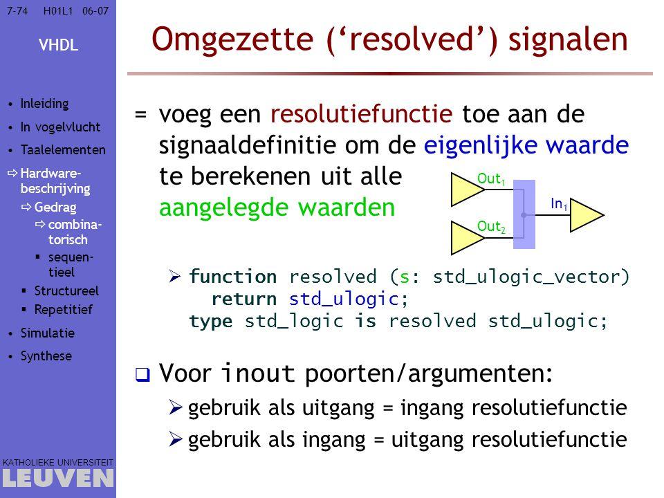 VHDL KATHOLIEKE UNIVERSITEIT 7-7406–07H01L1 Omgezette ('resolved') signalen =voeg een resolutiefunctie toe aan de signaaldefinitie om de eigenlijke wa