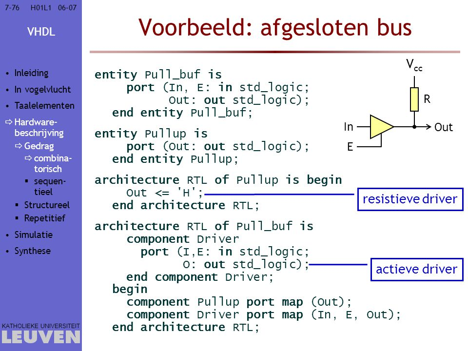 VHDL KATHOLIEKE UNIVERSITEIT 7-7606–07H01L1 Voorbeeld: afgesloten bus entity Pull_buf is port (In, E: in std_logic; Out: out std_logic); end entity Pu