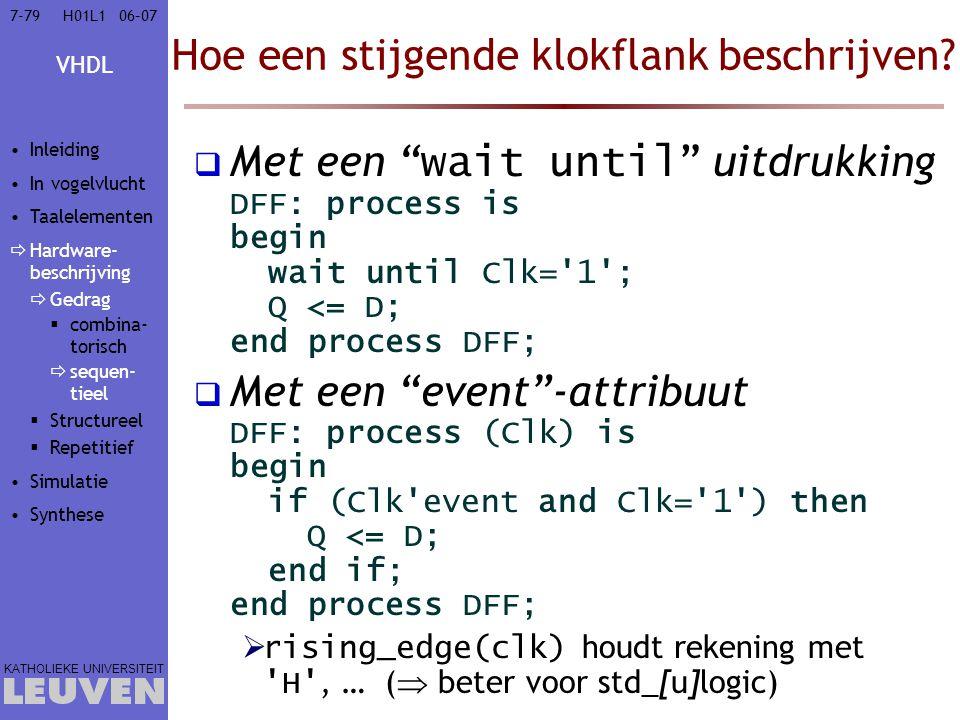 """VHDL KATHOLIEKE UNIVERSITEIT 7-7906–07H01L1 Hoe een stijgende klokflank beschrijven?  Met een """" wait until """" uitdrukking DFF: process is begin wait u"""