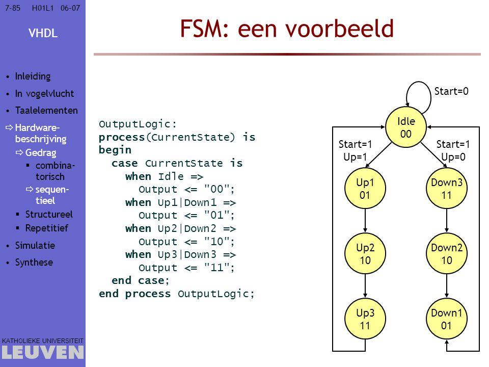 VHDL KATHOLIEKE UNIVERSITEIT 7-8506–07H01L1 FSM: een voorbeeld OutputLogic: process(CurrentState) is begin case CurrentState is when Idle => Output <= 00 ; when Up1|Down1 => Output <= 01 ; when Up2|Down2 => Output <= 10 ; when Up3|Down3 => Output <= 11 ; end case; end process OutputLogic; Idle 00 Up1 01 Up2 10 Up3 11 Down3 11 Down2 10 Down1 01 Start=0 Start=1 Up=0 Start=1 Up=1 Inleiding In vogelvlucht Taalelementen  Hardware- beschrijving  Gedrag  combina- torisch  sequen- tieel  Structureel  Repetitief Simulatie Synthese