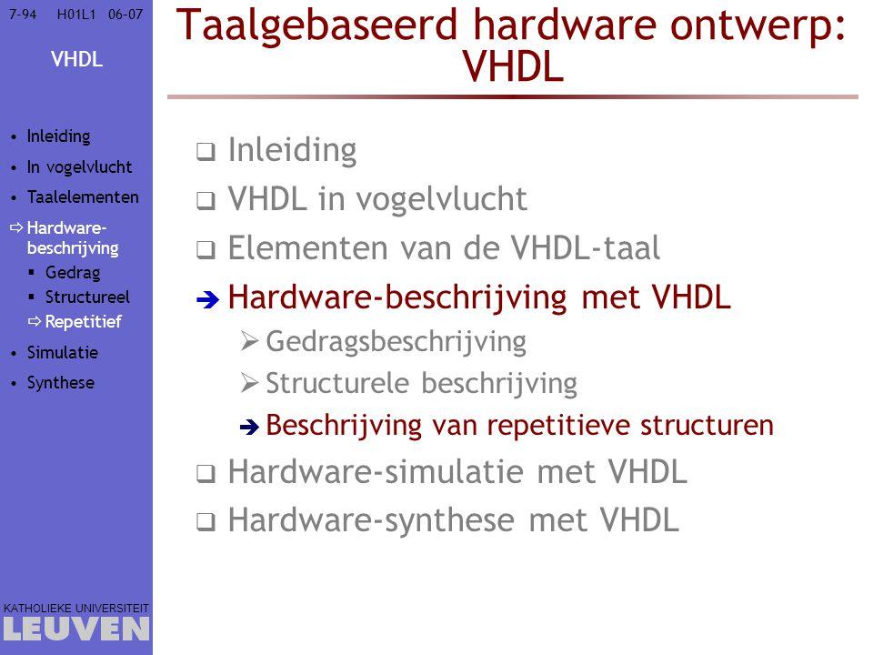 VHDL KATHOLIEKE UNIVERSITEIT 7-9406–07H01L1 Taalgebaseerd hardware ontwerp: VHDL  Inleiding  VHDL in vogelvlucht  Elementen van de VHDL-taal  Hard