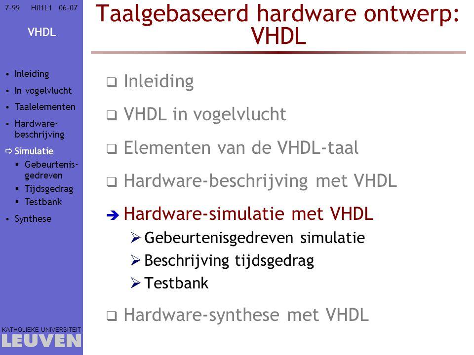 VHDL KATHOLIEKE UNIVERSITEIT 7-9906–07H01L1 Taalgebaseerd hardware ontwerp: VHDL  Inleiding  VHDL in vogelvlucht  Elementen van de VHDL-taal  Hardware-beschrijving met VHDL  Hardware-simulatie met VHDL  Gebeurtenisgedreven simulatie  Beschrijving tijdsgedrag  Testbank  Hardware-synthese met VHDL Inleiding In vogelvlucht Taalelementen Hardware- beschrijving  Simulatie  Gebeurtenis- gedreven  Tijdsgedrag  Testbank Synthese