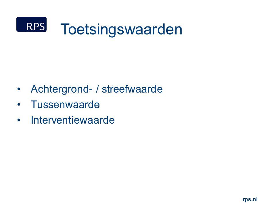 rps.nl Toetsingswaarden Achtergrond- / streefwaarde Tussenwaarde Interventiewaarde