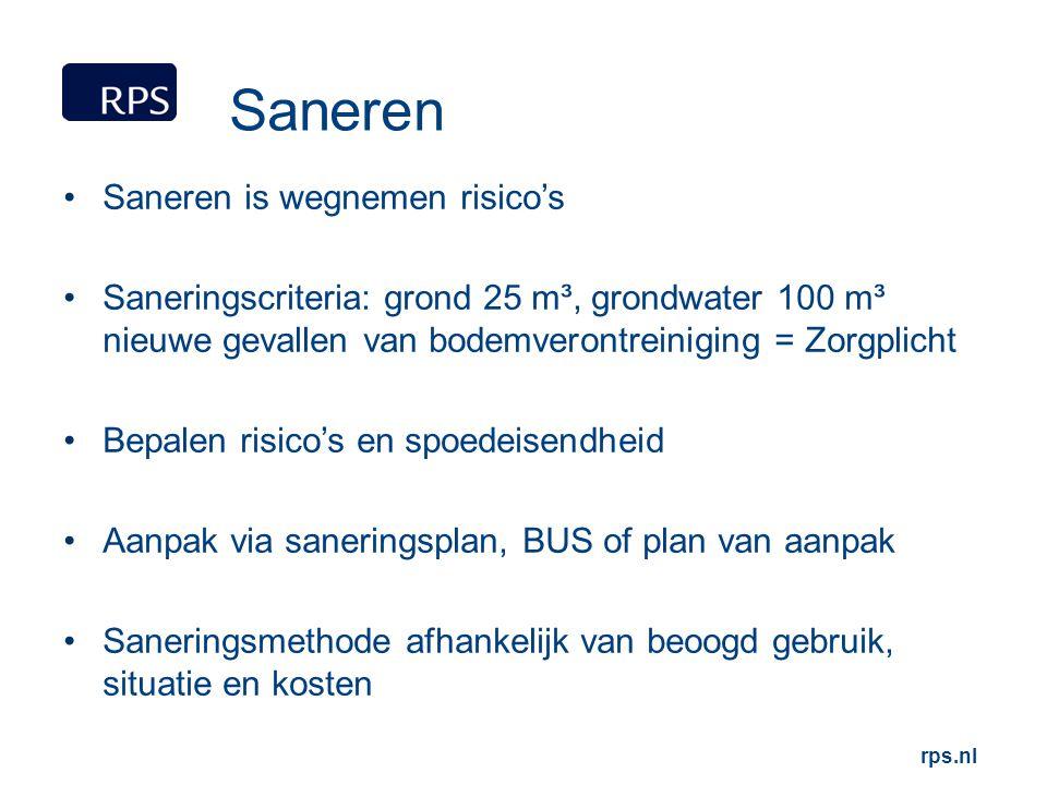 rps.nl Saneren Saneren is wegnemen risico's Saneringscriteria: grond 25 m³, grondwater 100 m³ nieuwe gevallen van bodemverontreiniging = Zorgplicht Be
