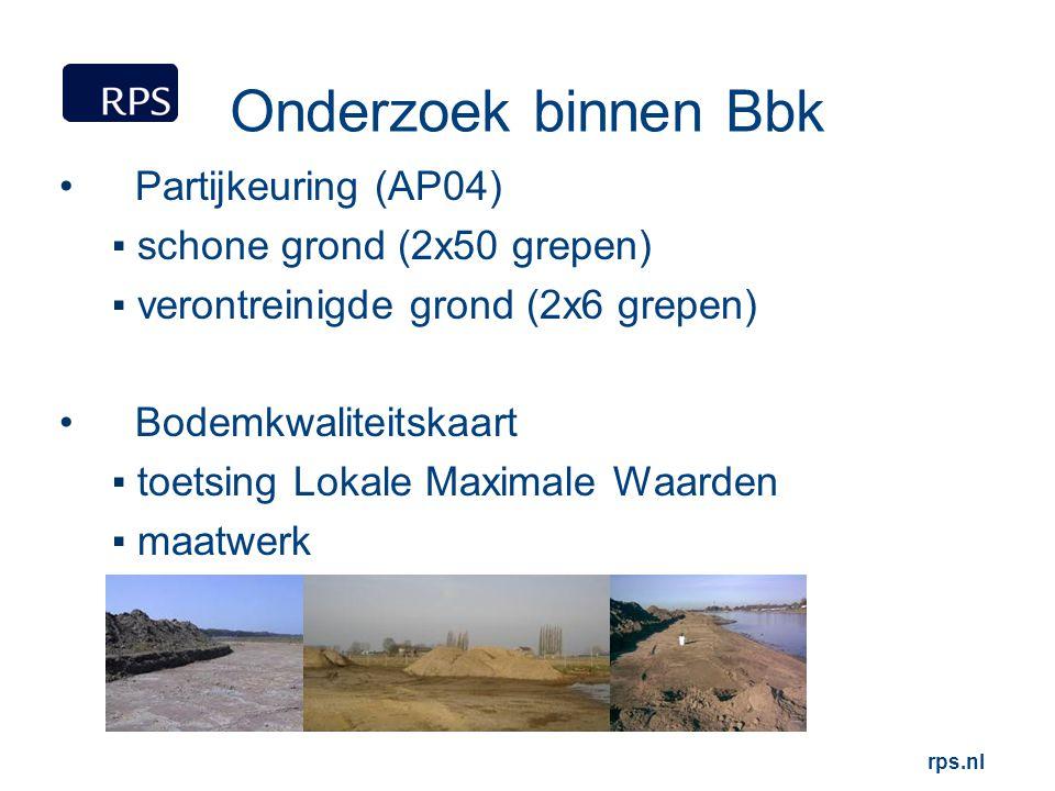 rps.nl Onderzoek binnen Bbk Partijkeuring (AP04) ▪ schone grond (2x50 grepen) ▪ verontreinigde grond (2x6 grepen) Bodemkwaliteitskaart ▪ toetsing Loka