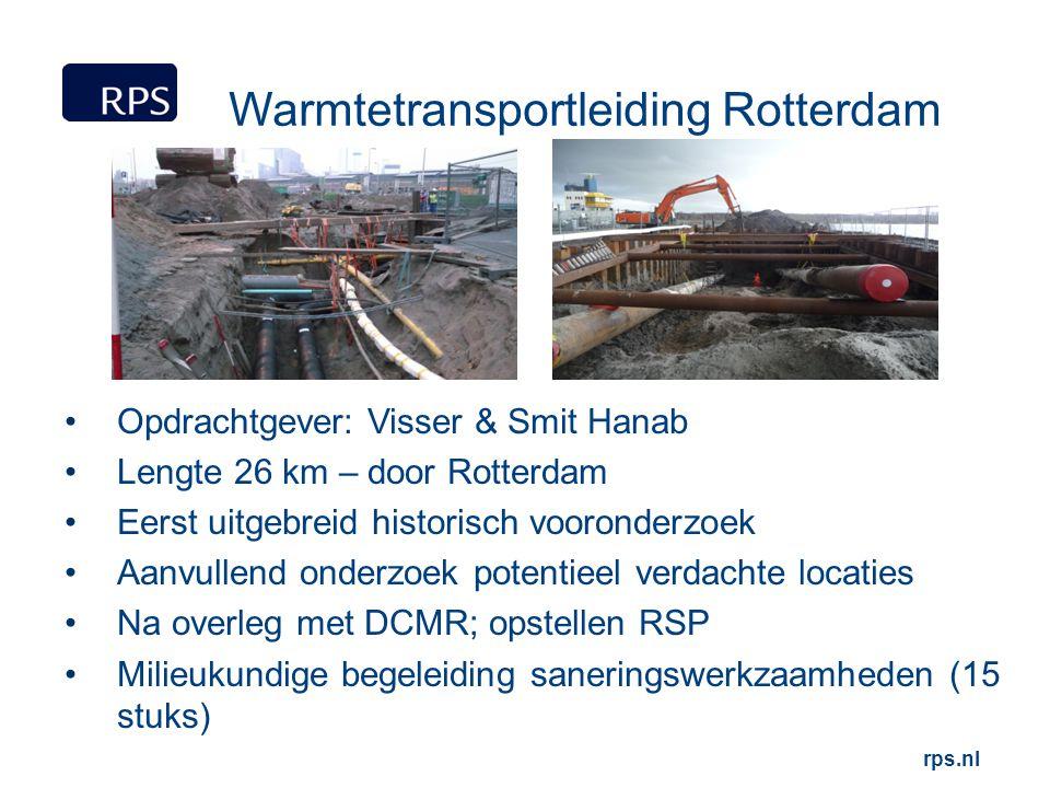 rps.nl Warmtetransportleiding Rotterdam Opdrachtgever: Visser & Smit Hanab Lengte 26 km – door Rotterdam Eerst uitgebreid historisch vooronderzoek Aan