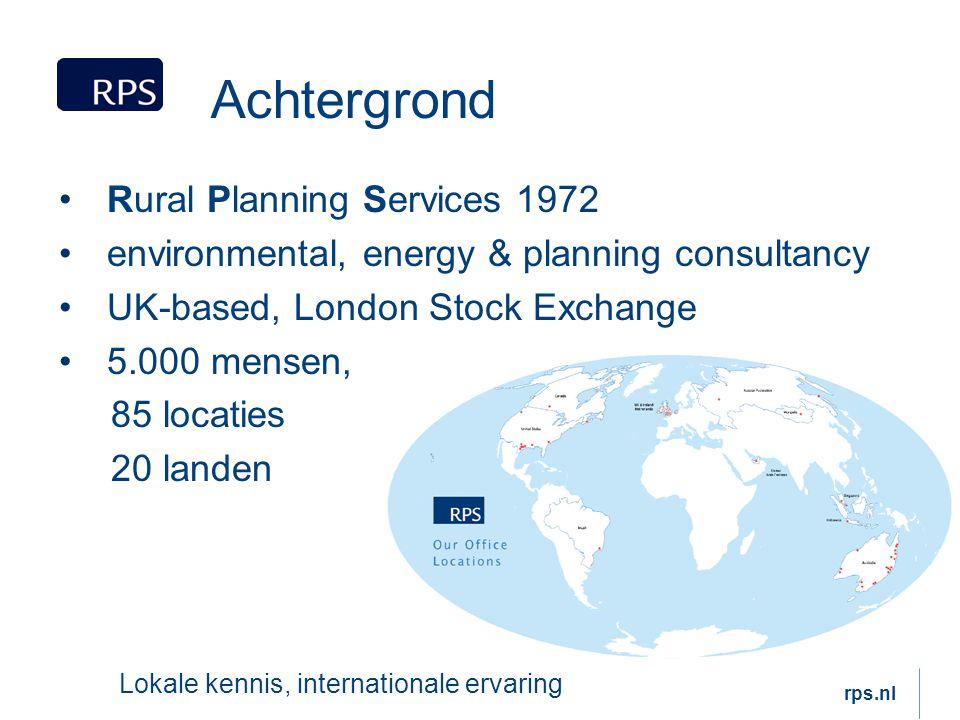 Nederland onafhankelijk advies 375 medewerkers 5 kantoren Breda, Hoogeveen, Rotterdam, Delft en Leerdam Samenwerken aan de toekomst van Nederland rps.nl