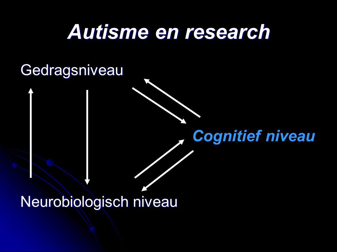 Autisme en research Gedragsniveau Cognitief niveau Neurobiologisch niveau