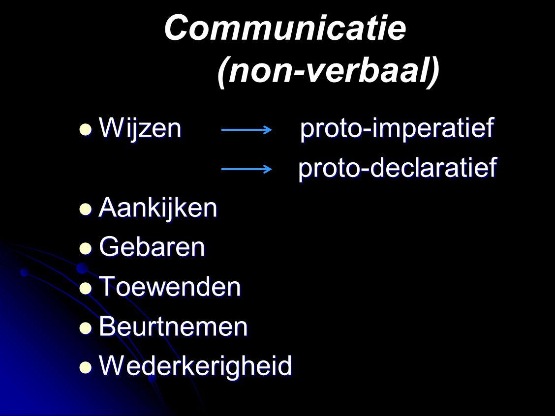 Communicatie (non-verbaal) Wijzen proto-imperatief Wijzen proto-imperatief proto-declaratief proto-declaratief Aankijken Aankijken Gebaren Gebaren Toewenden Toewenden Beurtnemen Beurtnemen Wederkerigheid Wederkerigheid