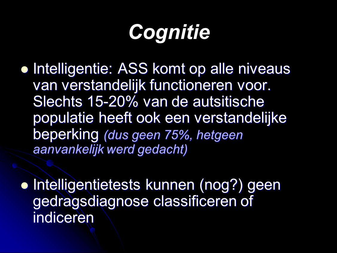 Cognitie Intelligentie: ASS komt op alle niveaus van verstandelijk functioneren voor.