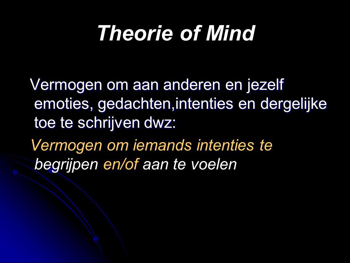 Theorie of Mind Vermogen om aan anderen en jezelf emoties, gedachten,intenties en dergelijke toe te schrijven dwz: Vermogen om aan anderen en jezelf emoties, gedachten,intenties en dergelijke toe te schrijven dwz: Vermogen om iemands intenties te begrijpen en/of aan te voelen