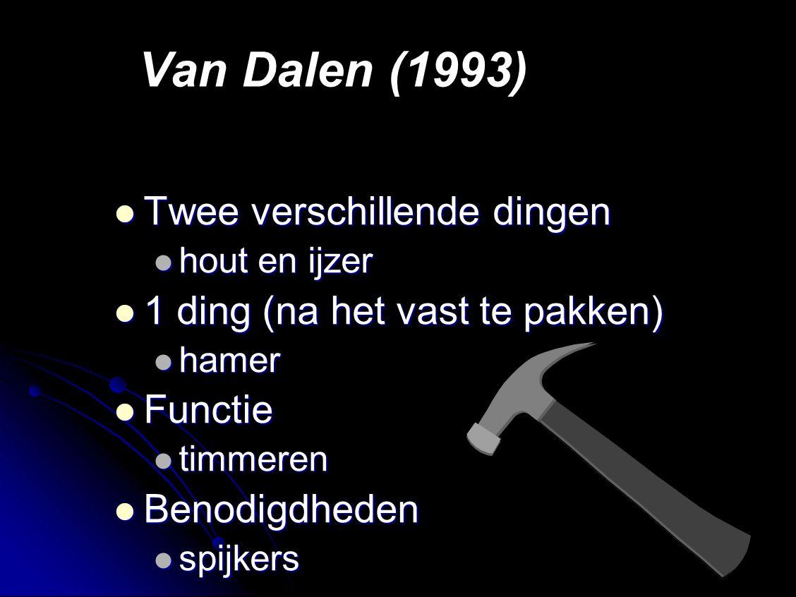 Van Dalen (1993) Twee verschillende dingen Twee verschillende dingen hout en ijzer hout en ijzer 1 ding (na het vast te pakken) 1 ding (na het vast te pakken) hamer hamer Functie Functie timmeren timmeren Benodigdheden Benodigdheden spijkers spijkers