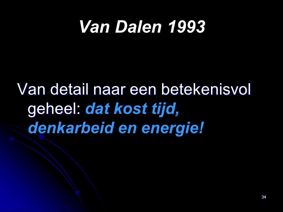 34 Van Dalen 1993 Van detail naar een betekenisvol geheel: Van detail naar een betekenisvol geheel: dat kost tijd, denkarbeid en energie!