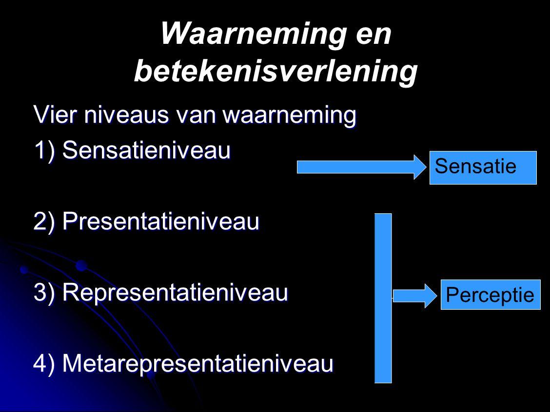 Waarneming en betekenisverlening Vier niveaus van waarneming 1) Sensatieniveau 2) Presentatieniveau 3) Representatieniveau 4) Metarepresentatieniveau Sensatie Perceptie