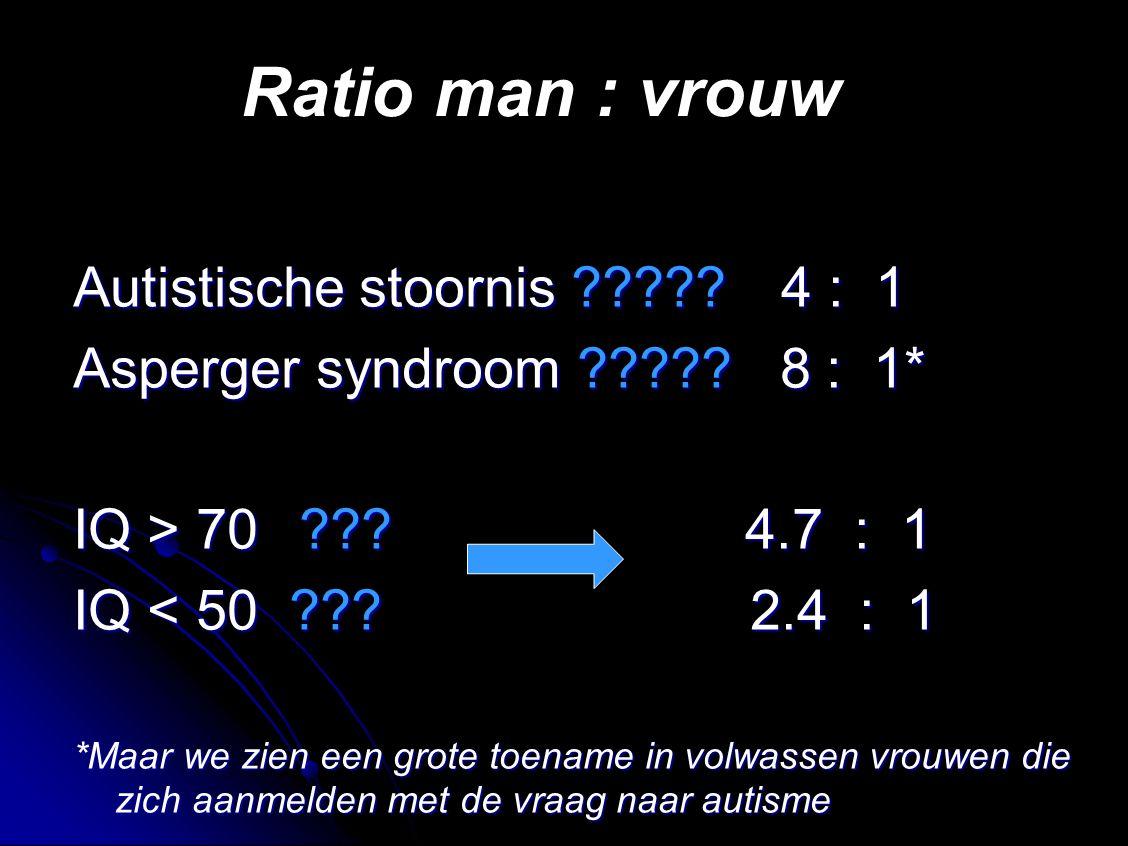 Ratio man : vrouw Autistische stoornis ????.4 : 1 Asperger syndroom ????.