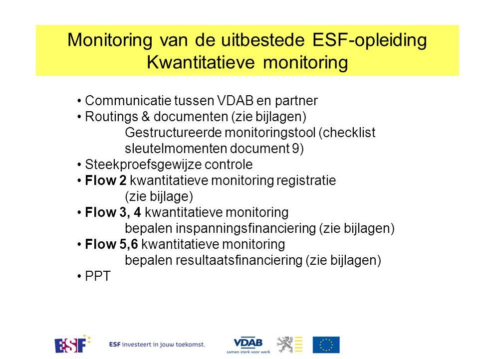 Monitoring van de uitbestede ESF-opleiding Kwantitatieve monitoring Communicatie tussen VDAB en partner Routings & documenten (zie bijlagen) Gestructureerde monitoringstool (checklist sleutelmomenten document 9) Steekproefsgewijze controle Flow 2 kwantitatieve monitoring registratie (zie bijlage) Flow 3, 4 kwantitatieve monitoring bepalen inspanningsfinanciering (zie bijlagen) Flow 5,6 kwantitatieve monitoring bepalen resultaatsfinanciering (zie bijlagen) PPT