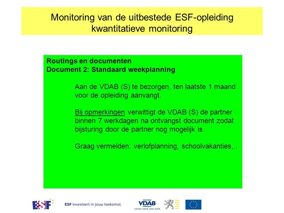 Monitoring van de uitbestede ESF-opleiding kwantitatieve monitoring Routings en documenten Document 2: Standaard weekplanning Aan de VDAB (S) te bezor