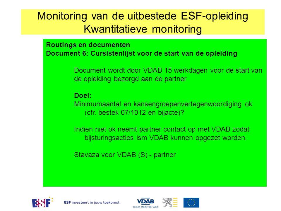 Monitoring van de uitbestede ESF-opleiding Kwantitatieve monitoring Routings en documenten Document 6: Cursistenlijst voor de start van de opleiding Document wordt door VDAB 15 werkdagen voor de start van de opleiding bezorgd aan de partner Doel: Minimumaantal en kansengroepenvertegenwoordiging ok (cfr.
