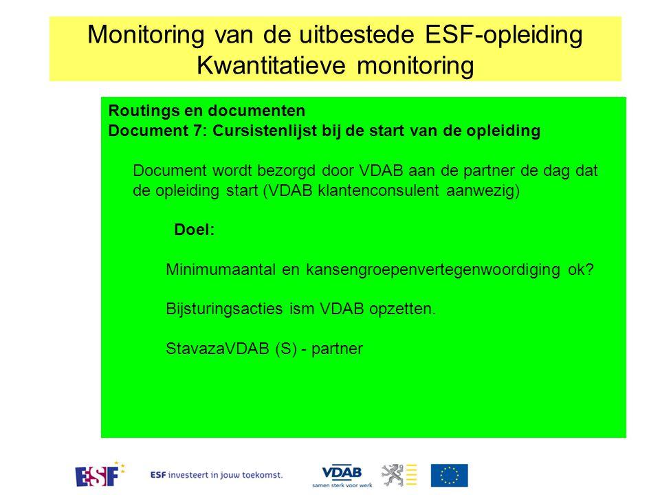 Routings en documenten Document 7: Cursistenlijst bij de start van de opleiding Document wordt bezorgd door VDAB aan de partner de dag dat de opleidin