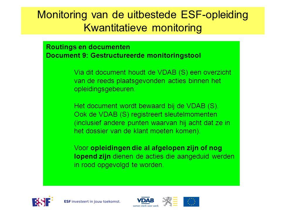 Routings en documenten Document 9: Gestructureerde monitoringstool Via dit document houdt de VDAB (S) een overzicht van de reeds plaatsgevonden acties
