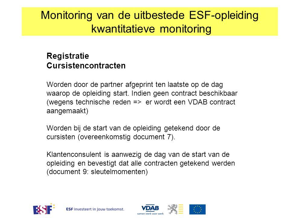 Monitoring van de uitbestede ESF-opleiding kwantitatieve monitoring Registratie Cursistencontracten Worden door de partner afgeprint ten laatste op de dag waarop de opleiding start.