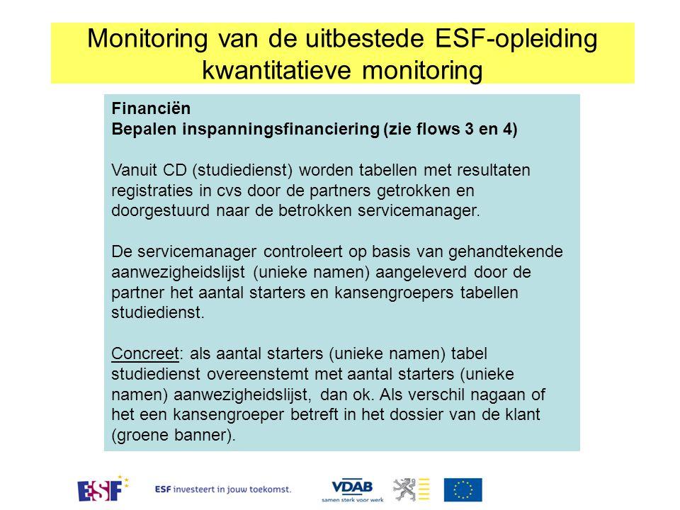 Financiën Bepalen inspanningsfinanciering (zie flows 3 en 4) Vanuit CD (studiedienst) worden tabellen met resultaten registraties in cvs door de partn
