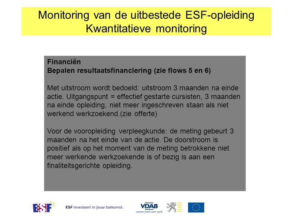 Financiën Bepalen resultaatsfinanciering (zie flows 5 en 6) Met uitstroom wordt bedoeld: uitstroom 3 maanden na einde actie. Uitgangspunt = effectief