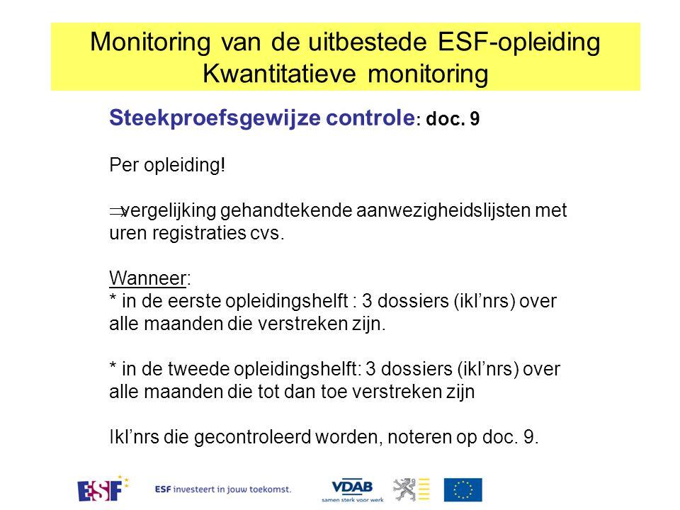 Monitoring van de uitbestede ESF-opleiding Kwantitatieve monitoring Steekproefsgewijze controle : doc. 9 Per opleiding!  vergelijking gehandtekende a