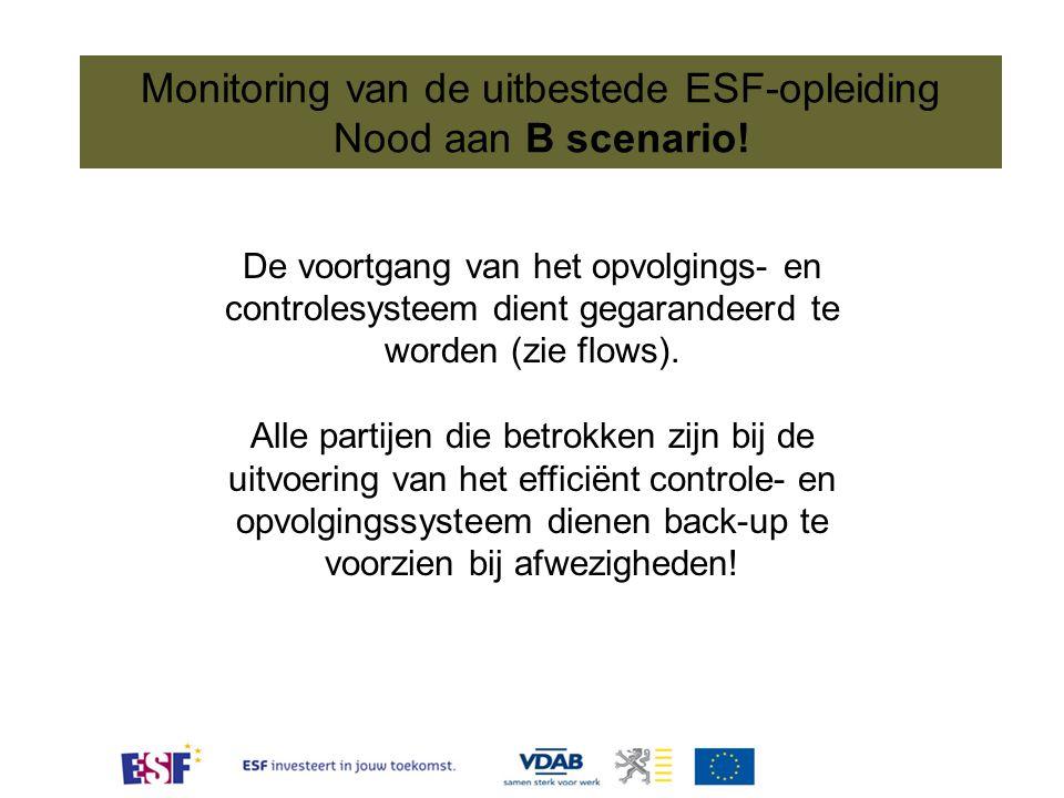 Monitoring van de uitbestede ESF-opleiding Nood aan B scenario! De voortgang van het opvolgings- en controlesysteem dient gegarandeerd te worden (zie