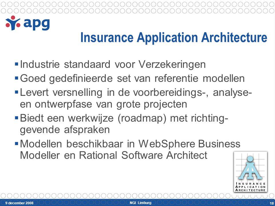 NGI Limburg 9 december 2008 18 Insurance Application Architecture  Industrie standaard voor Verzekeringen  Goed gedefinieerde set van referentie mod
