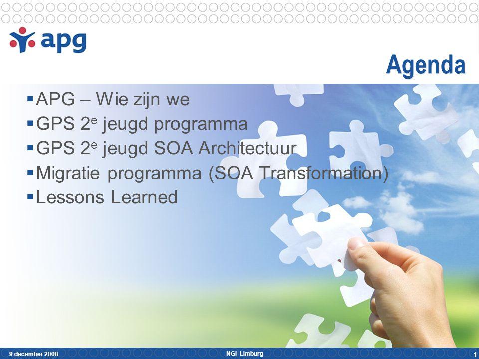 NGI Limburg 9 december 2008 22  APG – Wie zijn we  Het GPS 2e jeugd programma  De GPS 2e jeugd SOA Architectuur  Het migratie programma (SOA Transformation)  Lessons Learned Veranderende inzichten SOA is complex Tips & Hints Conclusies