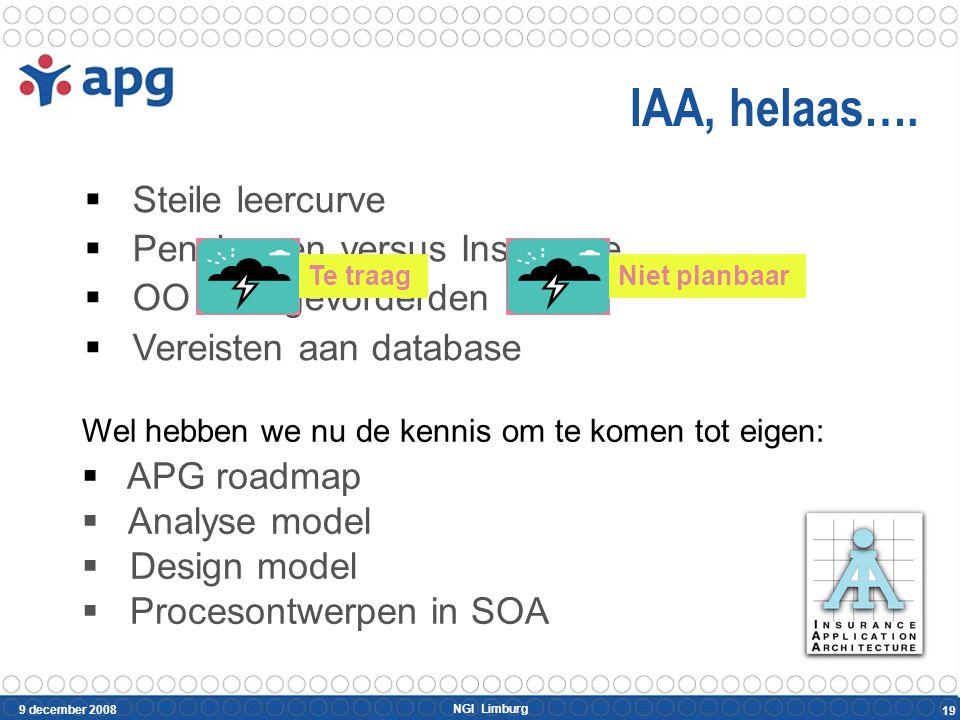 NGI Limburg 9 december 2008 19  Steile leercurve  Pensioenen versus Insurance  OO voor gevorderden  Vereisten aan database Te traagNiet planbaar I