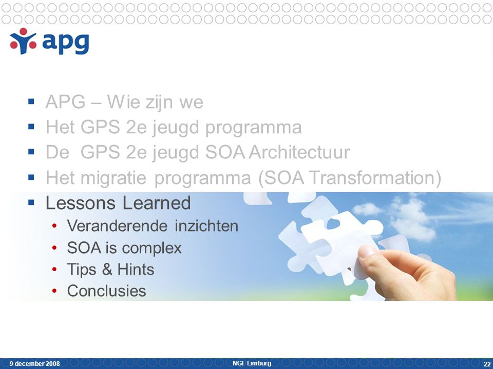 NGI Limburg 9 december 2008 22  APG – Wie zijn we  Het GPS 2e jeugd programma  De GPS 2e jeugd SOA Architectuur  Het migratie programma (SOA Trans