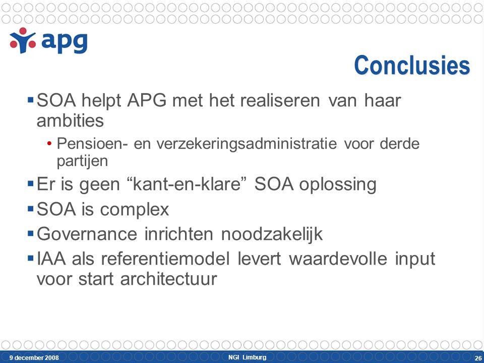 NGI Limburg 9 december 2008 26 Conclusies  SOA helpt APG met het realiseren van haar ambities Pensioen- en verzekeringsadministratie voor derde parti