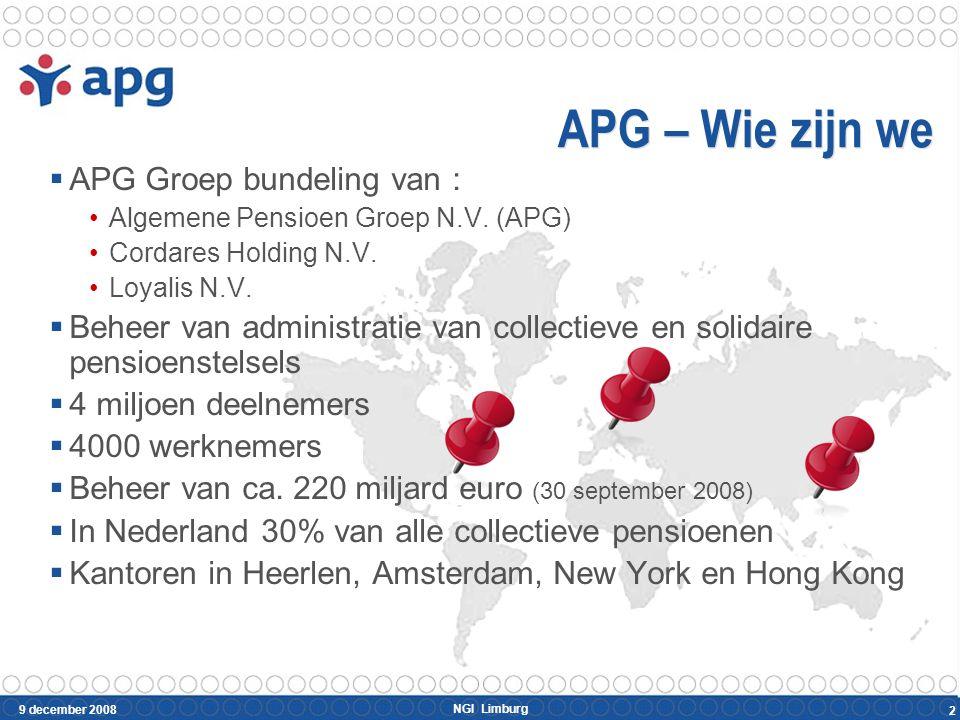 NGI Limburg 9 december 2008 2 APG – Wie zijn we  APG Groep bundeling van : Algemene Pensioen Groep N.V. (APG) Cordares Holding N.V. Loyalis N.V.  Be