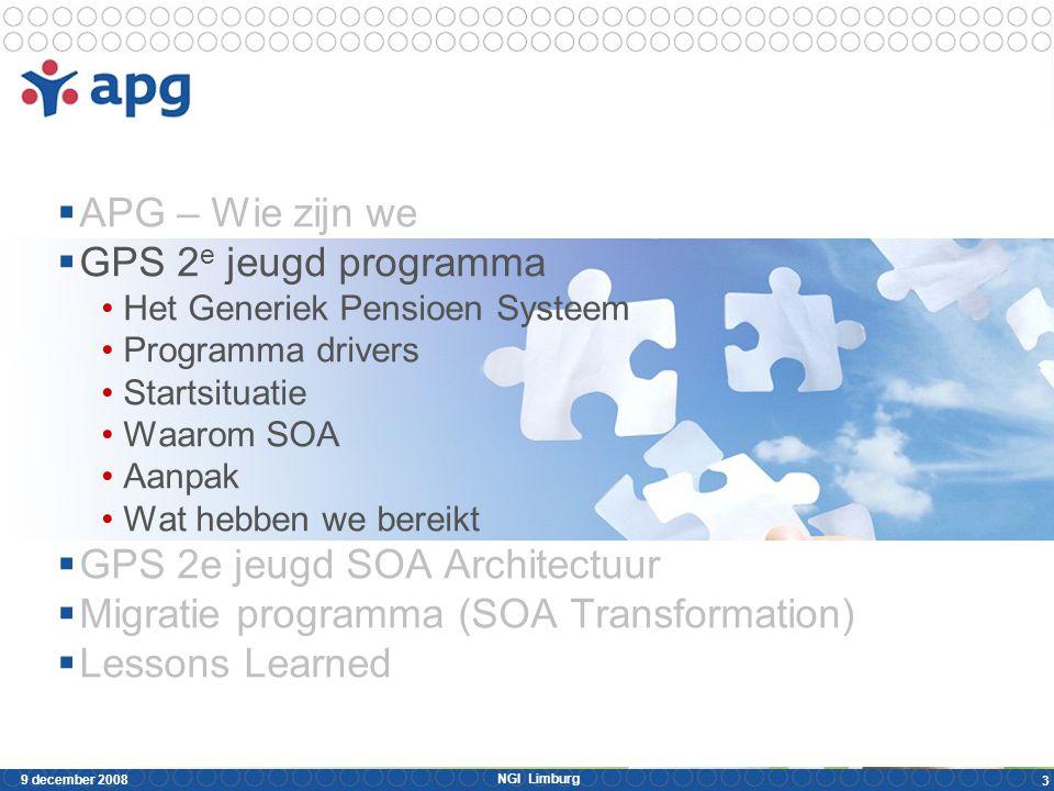 NGI Limburg 9 december 2008 3  APG – Wie zijn we  GPS 2 e jeugd programma Het Generiek Pensioen Systeem Programma drivers Startsituatie Waarom SOA A