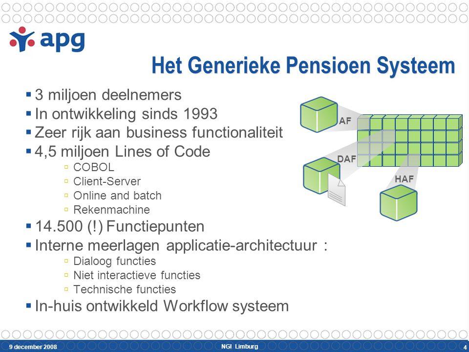 NGI Limburg 9 december 2008 4 AF DAF HAF Het Generieke Pensioen Systeem  3 miljoen deelnemers  In ontwikkeling sinds 1993  Zeer rijk aan business f