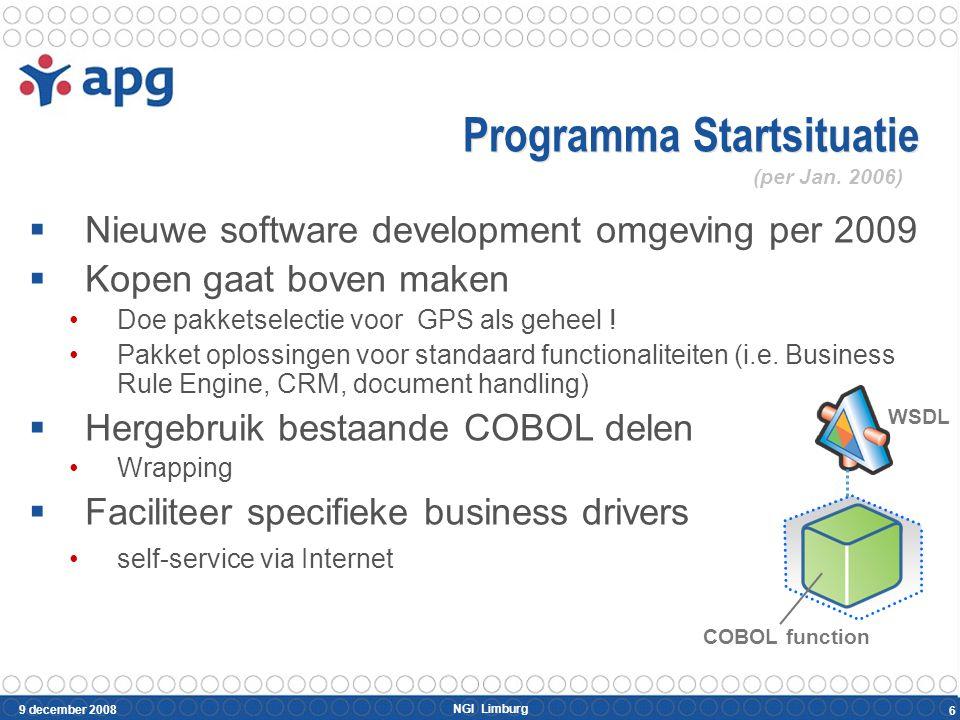 NGI Limburg 9 december 2008 6 Programma Startsituatie  Nieuwe software development omgeving per 2009  Kopen gaat boven maken Doe pakketselectie voor