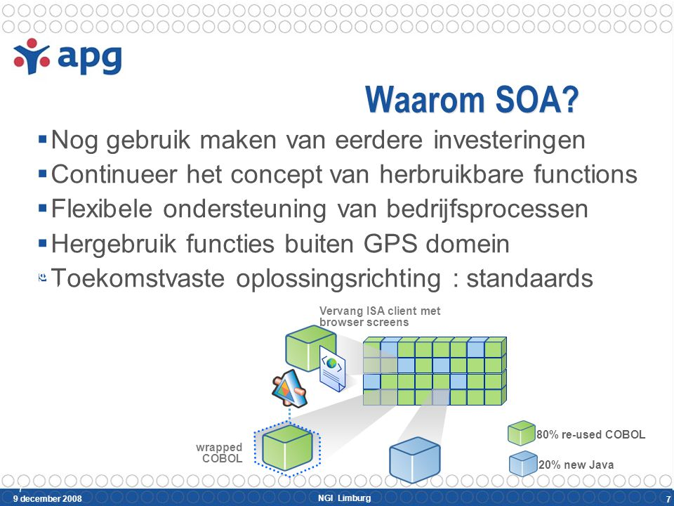 NGI Limburg 9 december 2008 7 Waarom SOA?  Nog gebruik maken van eerdere investeringen  Continueer het concept van herbruikbare functions  Flexibel