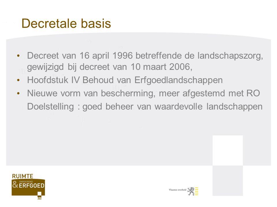 Besluit van de Vlaamse Regering van 9 mei 2008: invulling zorgplicht De administratieve overheid stelt een motiveringsnota op die volgende elementen bevat: - Naam van het werk, handeling, plan, verordening, - Naam van ankerplaats of erfgoedlandschap met waarden en kenmerken, - Beschrijving van het werk, …, met nadruk op aspecten die impact hebben op waarden en kenmerken, - Verduidelijking van de impact; positief/negatief, - Analyse van de negatieve effecten met schadebeperkende, herstel- of compenserende maatregelen, - Conclusie voor de beslissing over werk, handeling, plan, verordening.