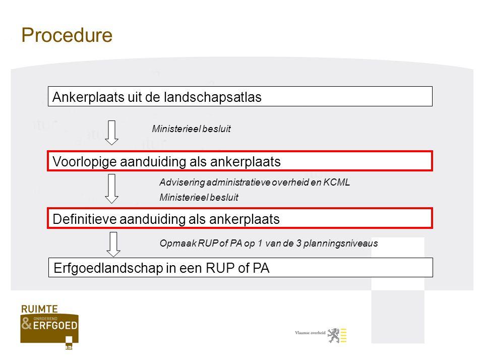 Vergelijking met beschermingen ook ruimtelijk-structurerende waarde geen gebods- en verbodsbepalingen geen openbaar onderzoek bij aanduidingen na definitieve aanduiding rechtsgevolgen voor administratieve overheid definitieve aanduiding is een tussenstadium Agentschap R-O Vlaanderen, onroerend erfgoed Aanduiding ankerplaatsen