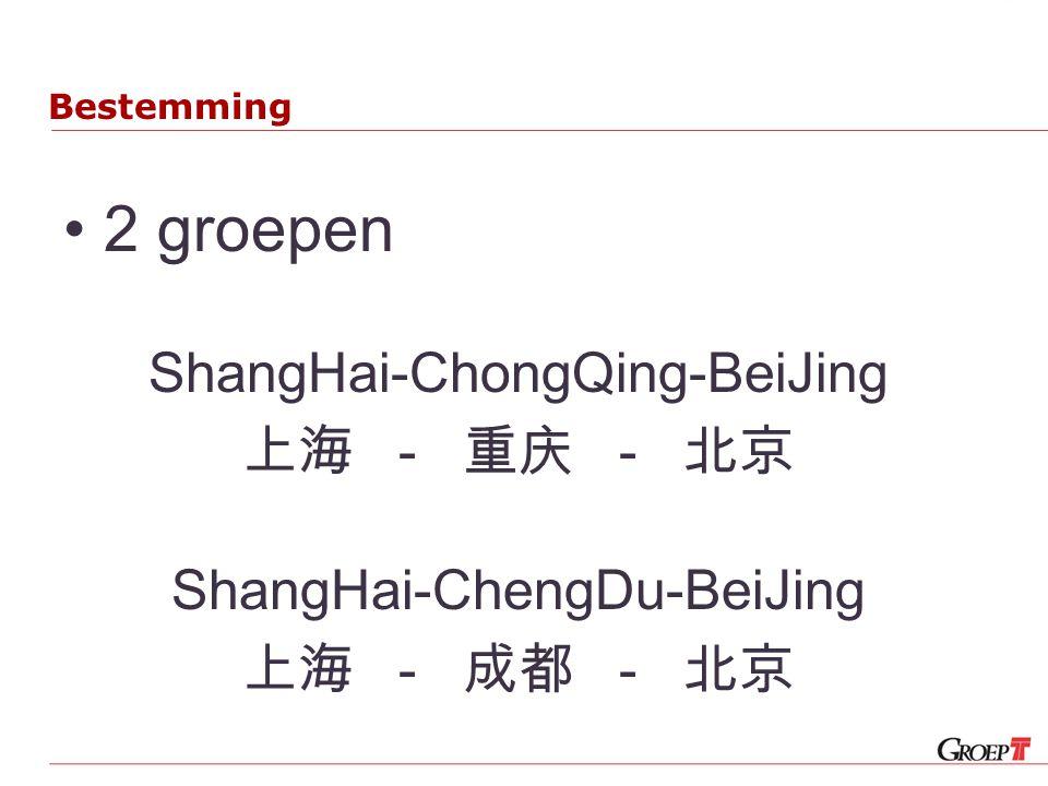 Bestemming 2 groepen ShangHai-ChongQing-BeiJing 上海 - 重庆 - 北京 ShangHai-ChengDu-BeiJing 上海 - 成都 - 北京
