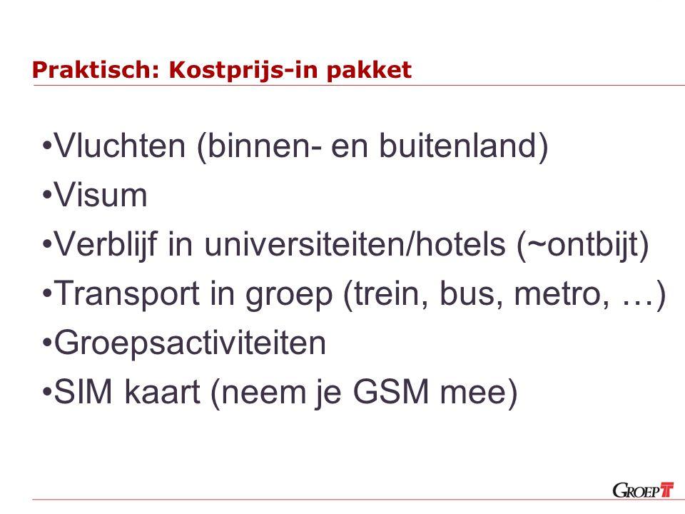 Praktisch: Kostprijs-in pakket Vluchten (binnen- en buitenland) Visum Verblijf in universiteiten/hotels (~ontbijt) Transport in groep (trein, bus, metro, …) Groepsactiviteiten SIM kaart (neem je GSM mee)