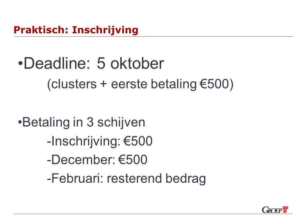 Praktisch: Inschrijving Deadline: 5 oktober (clusters + eerste betaling €500) Betaling in 3 schijven -Inschrijving: €500 -December: €500 -Februari: re