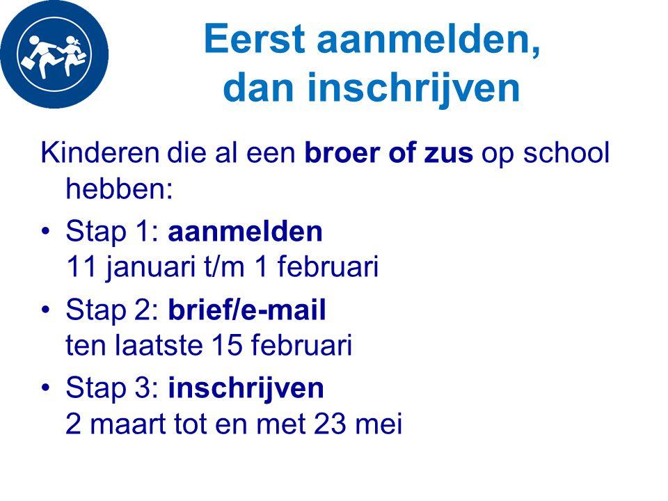 Eerst aanmelden, dan inschrijven Kinderen die al een broer of zus op school hebben: Stap 1: aanmelden 11 januari t/m 1 februari Stap 2: brief/e-mail t