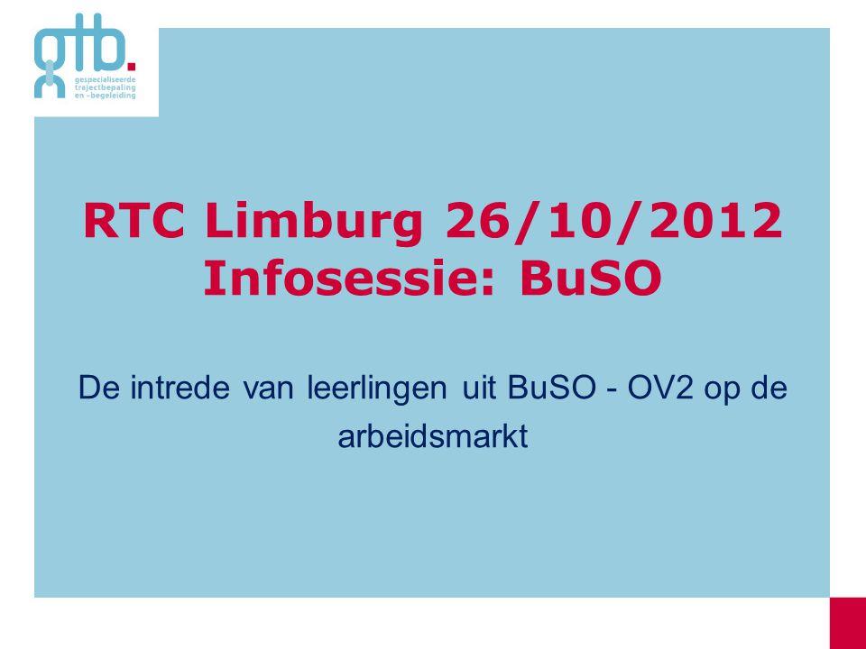 RTC Limburg 26/10/2012 Infosessie: BuSO De intrede van leerlingen uit BuSO - OV2 op de arbeidsmarkt