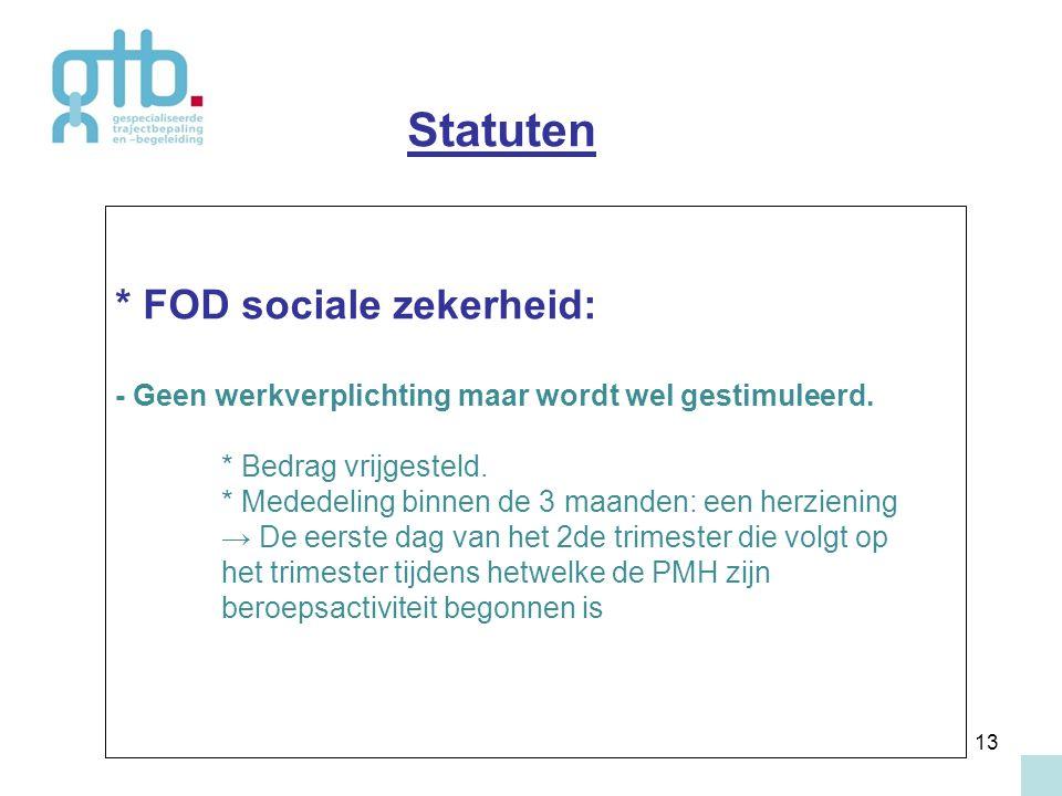 13 * FOD sociale zekerheid: - Geen werkverplichting maar wordt wel gestimuleerd. * Bedrag vrijgesteld. * Mededeling binnen de 3 maanden: een herzienin