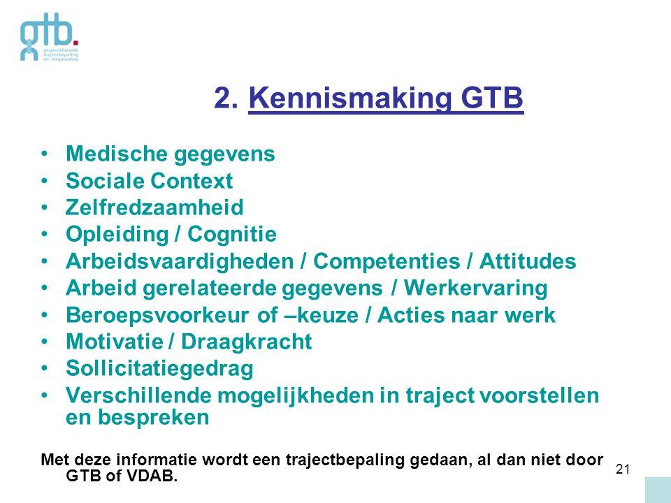 21 2. Kennismaking GTB Medische gegevens Sociale Context Zelfredzaamheid Opleiding / Cognitie Arbeidsvaardigheden / Competenties / Attitudes Arbeid ge
