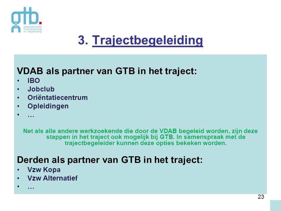 23 3. Trajectbegeleiding VDAB als partner van GTB in het traject: IBO Jobclub Oriëntatiecentrum Opleidingen … Net als alle andere werkzoekende die doo